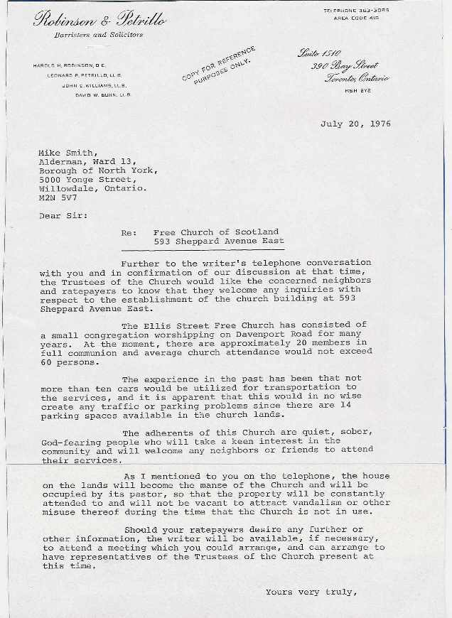History letter to north york alderman 1976 about the congregations relocation to 593 sheppard ave east stopboris Image collections